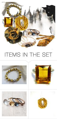 Black Cats Love Gold by whimzingers on Polyvore featuring art