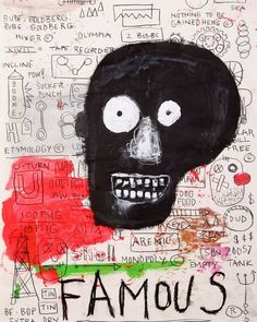 "Jean- Michel Basquiat - ""Famous"" – Basquiat's art focused on ""suggestive dichotomies"", such as wealth versus poverty, integration versus segregation, and inner versus outer experience. He appropriated poetry, drawing, and painting, and married text and image, abstraction, figuration, and historical information mixed with contemporary critique.   Basquiat used social commentary in his paintings as a ""springboard to deeper truths about the individual, as well as attacks on power structures and…"