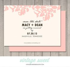 Save the Date Card / Magnet / Postcard (Printable DIY) by Vintage Sweet Design On Etsy  {$12.00}   vintagesweetdesign.etsy.com | lace . damask |