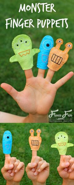 Monster Finger Puppets - Free sewing pattern & tutorial by Swoodson Says for… Sewing Projects For Kids, Sewing For Kids, Free Sewing, Easy Projects, Finger Puppet Patterns, Finger Puppets, Sewing Basics, Sewing For Beginners, Sewing Class