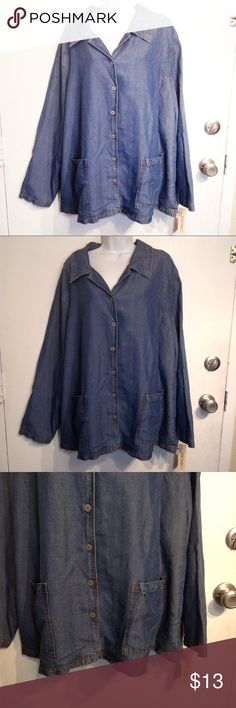 🌟5 for $25🌟 NWT Plus Size Denim Chambray Top New with tags. Plus size denim chambray button up shirt with pockets. Great fascinating staple item. Perfect for layering. Size 3x. No modeling. Smoke free home. Everything in my closet is 5 for $25! Cherokee Tops Button Down Shirts