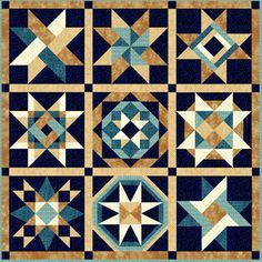 FA - facas para quilting na This sampler quilt is made with mix and match AccuQuilt dies! For joshs banana quit Quilt Blocks with Color Placement. Great for patchwork scrappy Barn Quilt Designs, Barn Quilt Patterns, Quilting Designs, Pattern Blocks, Star Quilt Blocks, Star Quilts, 24 Blocks, Painted Barn Quilts, Quilt Border