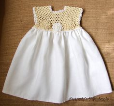 Linen  crochet spring / summer dress for the baby girl by Dachuks, $39.00