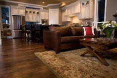 BuildDirect – Engineered Hardwood - New Cosmopolitan Trendy Collection – Maple Coffee - Living Room View Engineered Hardwood Flooring, Parquet Flooring, Hardwood Floors, Flooring Ideas, Cool Rugs, Rugs In Living Room, New Homes, House Styles, Trendy Collection