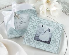 "Paris Theme - ""Fleur de lis"" Frosted-Glass Photo Coasters"