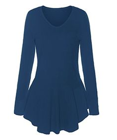 ReliBeauty Womens VNeck Long Sleeve Peplum Tops Peacock Blue 18 *** Find out more about the great product at the image link.Note:It is affiliate link to Amazon.