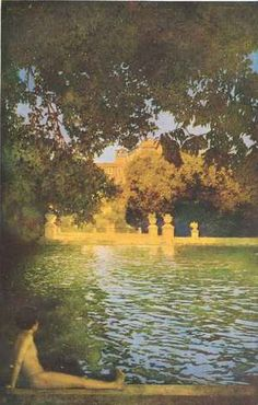 "Maxfield Parrish (American, 1870-1966). ""The Pool at Villa d'Este"" from ""Italian Villas and Their Gardens"" by Edith Wharton (1904)"