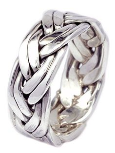 7mm Artisan Handcraft Couple Line Braid Ring in 925 Sterl