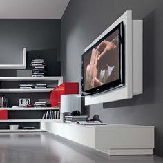 Porta Tv orientabile e apribile Rack Tv Stand Rack, Wall Tv Stand, Rack Tv, Living Room Tv, Living Room Modern, Living Room Designs, Tv Stand Measurements, Wall Mounted Tv Unit, Support Mural Tv