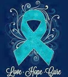 Ovarian Cancer Awareness ~  Ribbon in Teal