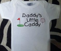 Daddy's little Caddy GOLF golfing funny baby one piece snapsuit outfit, you choose color and size!
