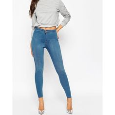 ASOS Rivington High Waisted Denim Jeggings in Orchid Wash (395 NOK) ❤ liked on Polyvore featuring pants, leggings, midwash blue, white high waisted leggings, white denim jeggings, white jean leggings, jean leggings and blue leggings