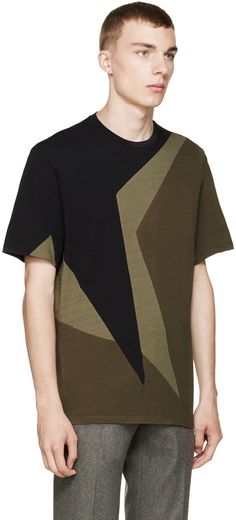 Neil Barrett Black & Olive Macro Pop Art T-Shirt