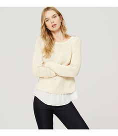 A chunky cotton knit meets woven shirttail hem for perfectly polished texture play. Round neck. Long sleeves. Ribbed neckline, cuffs and knit hem.