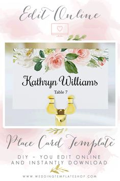 DIY Wedding Place Cards, Edit online in your browser window, download and print. Wedding Flats, Diy Wedding, Edit Online, Seating Cards, Wedding Templates, Wedding Place Cards, Reception, Blush, Window