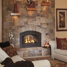 Image detail for -Cultured Stone Bucks County European Castle Stone interior fireplace . Reface Fireplace, Fireplace Facing, Vented Gas Fireplace, Home Fireplace, Fireplace Remodel, Living Room With Fireplace, Fireplace Surrounds, Fireplace Design, Fireplace Ideas