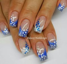 In order to make to make your nails summer ready, you need to push your creativity. The presence of nail art decals, dotting tools, acrylic nails, stencils and different kinds of paints make it very easy for you to achieve the desired results. Blue Nail Designs, Beautiful Nail Designs, Beautiful Nail Art, Blue Design, Blue Nails, My Nails, Hair And Nails, Spring Nails, Summer Nails