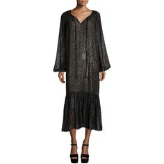 Michael Kors Collection Long-Sleeve Metallic Peasant Dress ($2,430) ❤ liked on Polyvore featuring dresses, graphite, long sleeve peasant dress, long sleeve metallic dress, michael kors dresses, peasant dress and long sleeve dress
