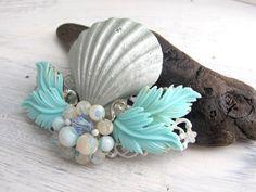 Shimmering Silver Seashell and Aqua Vintage Jewel Assemblage Bridal Hair Comb Coastal Wedding Beach Wedding No.12