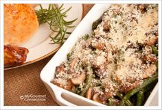 Crumb Topped Green Bean Mushroom Bake: An easy, make-ahead side dish of fresh green beans and sauteed mushrooms with a crumb topping.
