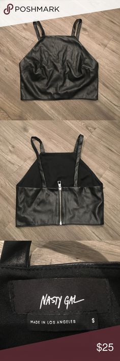 Nasty Gal Leather Halter Crop Top Brand new without tags. Leather halter crop top from Nasty Gal. Perfect for the summer! And also events and festivals ☺️🌸 Nasty Gal Tops Crop Tops