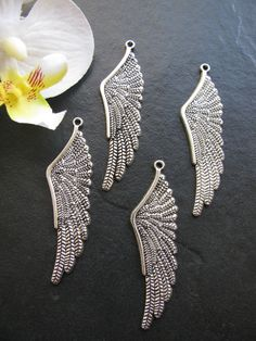 4 Metallanhänger Flügel, 6,1 cm, silberfarben, Anhänger, Perlen basteln