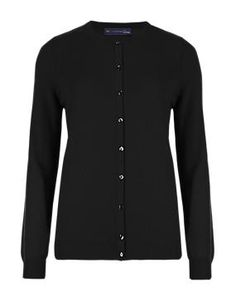 Black Pure Cashmere Button Through Cardigan