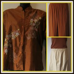 #urbanthik offering #Curvys great #quality #clothing.This mix and match Size 3x and size 24 NEW #ColdwaterCreek Asian style Brown Jacket, silk #pants and top with ivory leather #skirt size 24 by CEDARS. We sell beautiful, cute, and quality #plussize clothing to women with #curves! Let your urves be heard, shop with us today! urbanthick.com