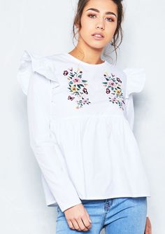 Missyempire - Leileni White Embroidered Frill Detail Top