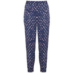 Diane Von Furstenberg Janeta trousers (€295) ❤ liked on Polyvore featuring pants, navy print, lightweight pants, patterned pants, navy blue high waisted pants, diane von furstenberg and high rise pants