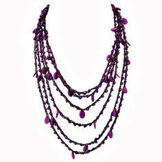 Purple yarn necklace – Jc & Crew Yarn Necklace, Beaded Necklace, Amp, Purple, Accessories, Jewelry, Fashion, Beaded Collar, Moda