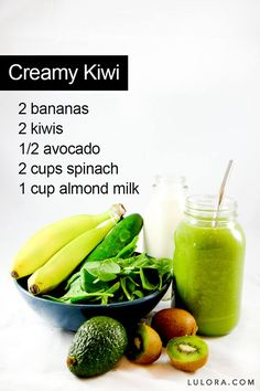 "Kiwi Smoothie This is a fun smoothie to have with your kids. Call it the ""Incredible Hulk"" and tell him how strong they will get... the sweetness of kiwi and banana hides the healthy fats of the avocado and the taste of the spinach. *Can use Vanilla Almond Milk for extra sweetness #mombodysoul"