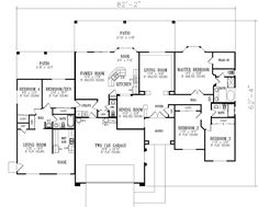 House Plans - 2702 Square Foot Home , 1 Story, 5 Bedroom and 3 Bath, 2 Garage Stalls by Monster House Plans - Plan 41-981