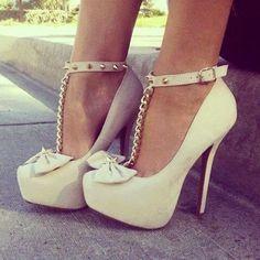White Bow Heels