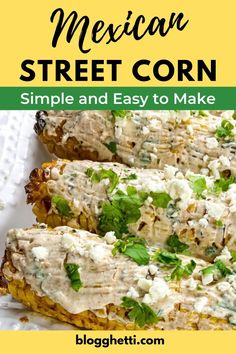 Mexican Street Corn (or Elote) is a traditional street food in Mexico. It's quick and easy to make! Charred corn on the cob slathered with Cotija cheese, Mexican Crema, and dusted with smoked paprika makes for a delicious side dish. You can grill, roast, or broil the corn. Great to make for BBQs or side to any dinner. Homemade Tacos, Homemade Taco Seasoning, Grilled Fruit, Grilled Vegetables, Vegetable Side Dishes, Vegetable Recipes, Mexican Crema, Cotija Cheese, Mexican Street Corn