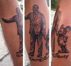 57 Amazing and Beautiful Tattoos Inspired by Disney . Disney Inspired Tattoos, Disney Tattoos, Disney Mickey Mouse, Walt Disney, Tattoo Videos, Healthy Cat Treats, Christmas 2016, Beautiful Tattoos, Disney Movies