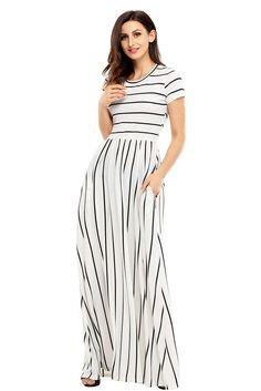0ce36dc692be Cheap Black Striped White Short Sleeve Maxi Dress only US  9.07