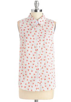 Gift of Flight Top in White. Soar into your week wearing this printed top! #white #modcloth