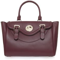 HILL AND FRIENDS Happy Satchel ($1,546) ❤ liked on Polyvore featuring bags, handbags, handbags totes, leather satchel purse, purple leather handbags, leather purses and leather satchel