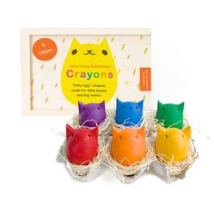 Kitty Egg Crayons Set Of 6 by Kitty Baby Love. Cuuuuuuute!!!!