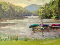 """Mary's Paintings: """"Fairfield Dock"""" Camp Merrie-Woode is the location here.  I loved having the young campers come by to see what I was doing and ask me questions while I painted.  FUN! available at www.MountainMistGallery.com"""