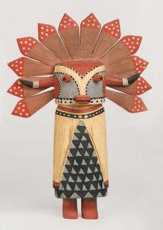 Kachina SIO SHALAKO Hopi , circa 1970 Les plumes d'aigle couvrant le masque