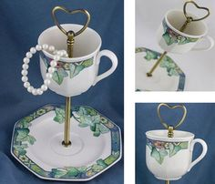 A jewelry stand made from a teacup