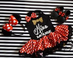 Miss Mouse Birthday or Vacation Tutu Dresses For Toddler Girls Ages 1 to 4
