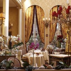 Eating at a fancy restaurant