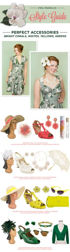 The Steel Magnolias Collection looks amazing paired with vibrant corals, yellows, whites, and greens. Bring out your southern charm with a wide brim hat and heels! Accessorize with rose earrings and bold sunnies!