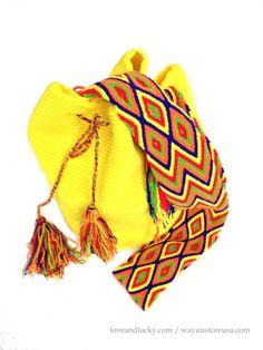 Yellow Authentic Wayuu Bags Wayuu Mochilas Bags by loveandlucky, $89.00