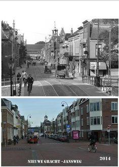 Haarlem - Jansweg va. Jansbrug, jaartal: 1923 met tramrails en rechts nog de schouwburg (met balkon en vlaggenmast ) - jaartal 2014 met rechts de nieuwbouw (huizen ). Opgelet, ook de brug is vernieuwd, deze is nu net zo breed als de Jansweg tussen de rooilijnen, zie oudere foto dat de voetpaden op de brug niet bestaan
