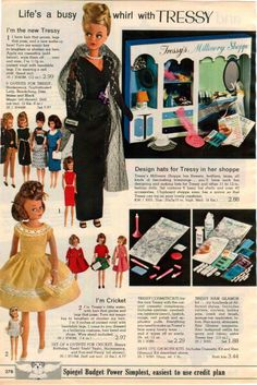 """Tressy 11.5"""" & Little Sister Cricket 9"""" Dolls and Fashions, Tressy's Millinery Shoppe, Cosmetic & Hair Glamour Kits from the Spiegel Christmas Catalog, 1965"""