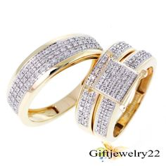 2.68 CT Diamond Trio Set 14K Gold Over Matching His & Her Wedding Ring & Band #giftjewelry22